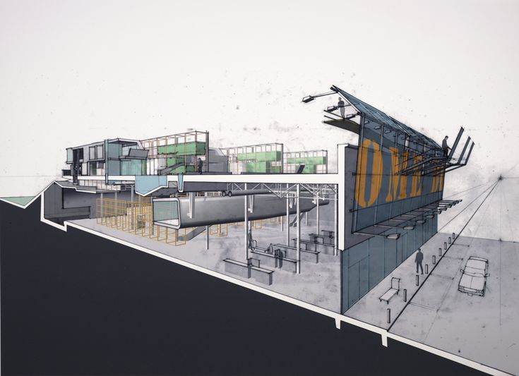 Digital hybrid drawing combining hand drawn perspective and digital models by architecture firm Lewis Tsurumaki Lewis