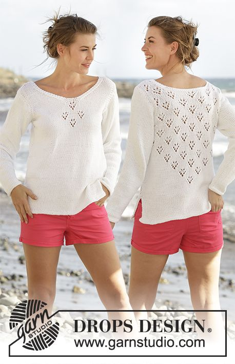 "Knitted DROPS jumper with V-neck, lace pattern and vents in the sides in ""Paris"". Free Pattern"