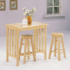 $161.69 World Imports Furnishings 3 Piece Counter Height Bar Table Set In  Natural