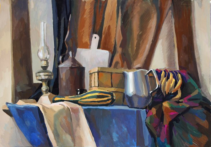 Still life with lamp and marrow.   Gouache and tempera on a paper, ap.60x75cm, 2008(?) #marrow #vegetables #still life #painting #study #gouache #tempera