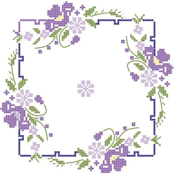 Quilt Blocks Stamped Iris On Square Border from Quilting-Warehouse