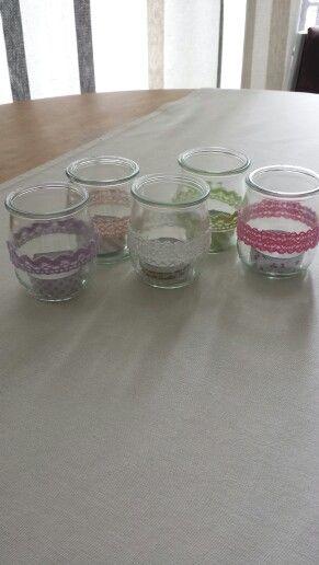 Bougies mariage #recup pot de yaourt #maskingtape #diy