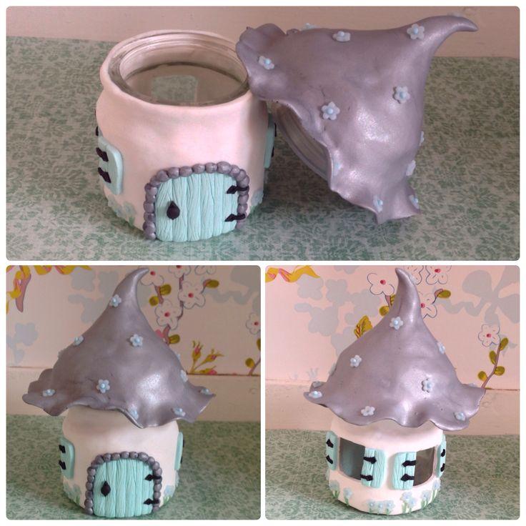 Handmade polymer clay fairyhouse jar from www.facebook.com/sweetstuffwebshop