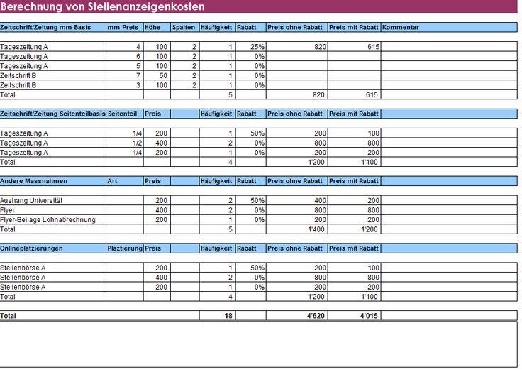 Berechnung Stellenanzeigen-Kosten aus 978-3-9523894-9-2Simmen KurtStellenanzeigen wirksam und erfolgreich formulieren