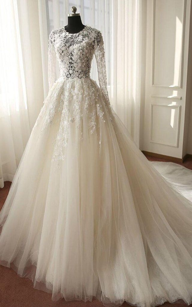 Long Sleeve Illusion Bodice Tulle Ball Gown Wedding Dress with Lace Applique-713…