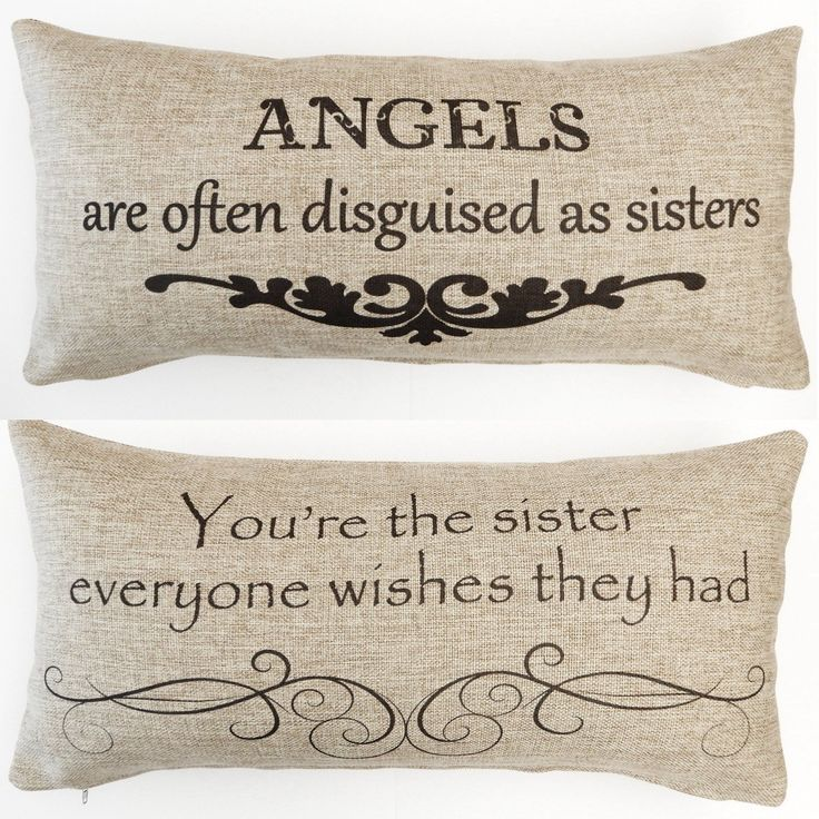 Sister quote tan pillow, sorority sister gift, gift for sister, gift for sorority, big sis, little sis, sister birthday ideas, sister birthday present.