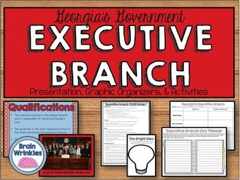 This file is a resource pack about the role of the executive branch in Georgia state government (as outlined by the Georgia Performance Standard  SS8CG3). The notes include important facts, vocabulary, and images. There are also many useful graphic organizers and creative activities included in this 63-page file!
