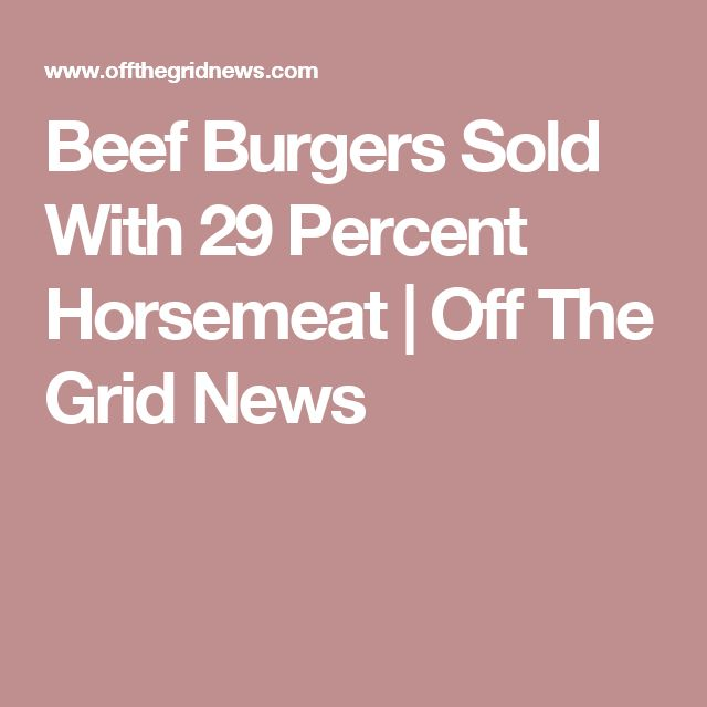 Beef Burgers Sold With 29 Percent Horsemeat | Off The Grid News