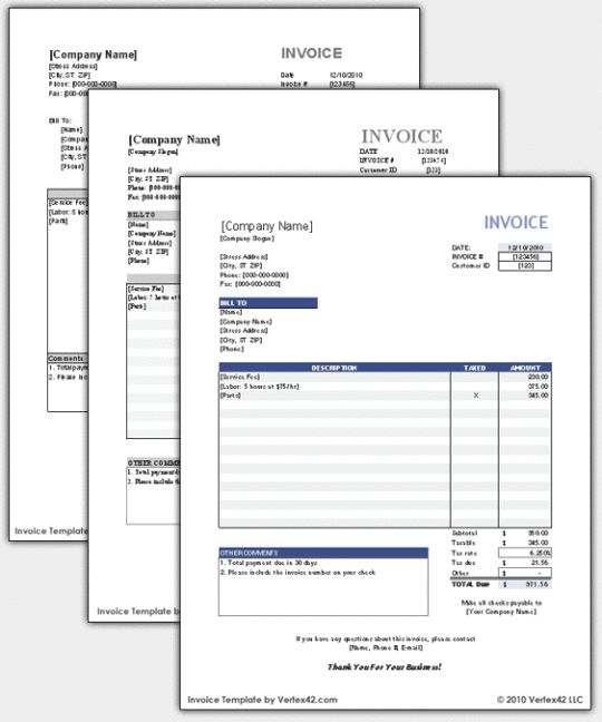Free Blank Bill Invoices | Free Invoice Template « Free Software Downloads