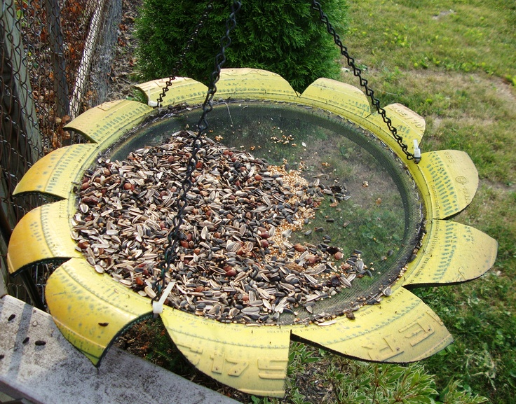 Sunflower Bird Feeder made from an old tire. This is in our backyard. | Garden & Yard ...
