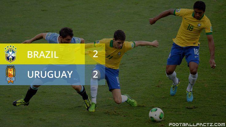 Brazil 2 - 2 Uruguay, Luis Suarez scored on his Uruguay return as Brazil threw away a two-goal lead to draw 2-2.