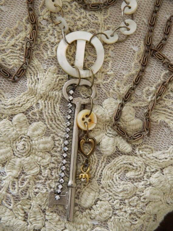 Assemblage Necklace MOP Buttons Key Rhinestones by 58Diamond