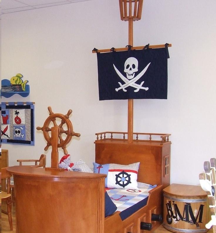 Skull banner, Little Boys Nautical/Pirate Bedroom  -blue white - HET. $70.00, via Etsy.