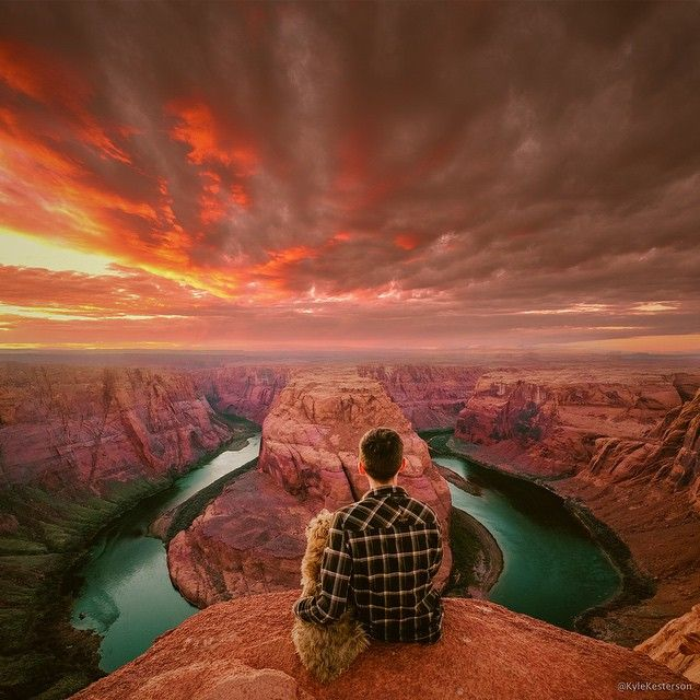 Horseshoe Bend in Page, Arizona, USA  What better place to get down on one knee and pop a box of Milkbones than 1000 ft above the Colorado River, during sunset.