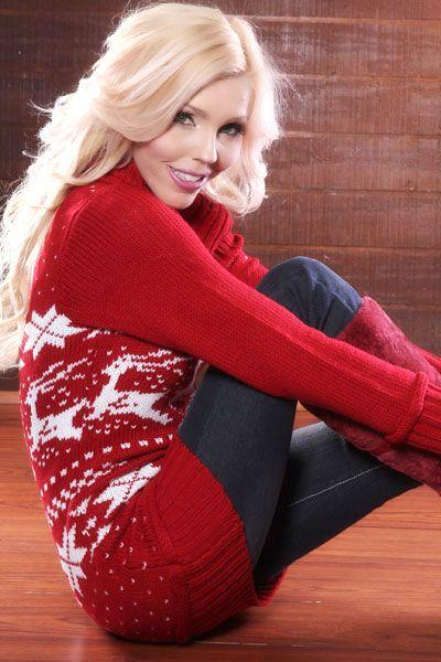 Red Off Shoulder Fair Isle Sweater Mini Dress Sexy