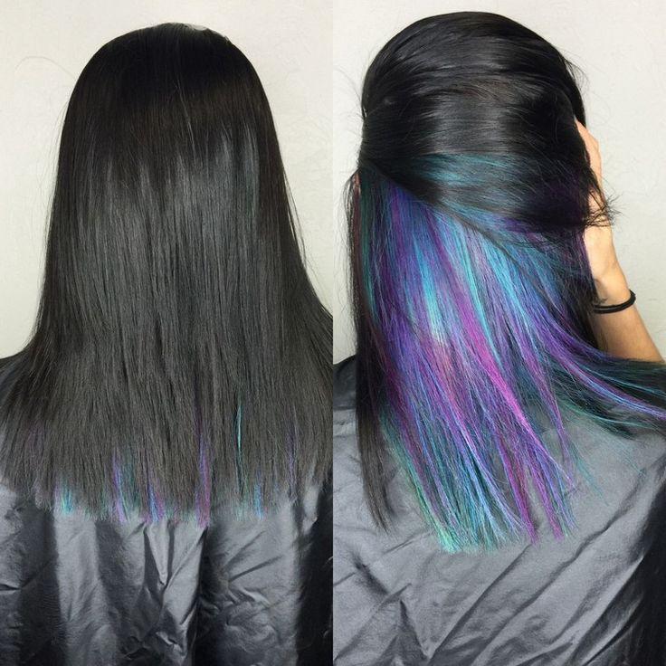 regenbogen haare underlights blau lila schwarzes deckhaar