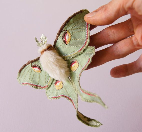 "Luna Moth Statement Fiber Brooch Saturniid Butterfly Natural History Gift for Her Nature Lover Gift Creature of the Night  Re-discover the magic of butterflies (and moths!)  They remind you of happy summers when you were little. They made a walk in the countryside a magical event. You watched them for hours. Sketched them in your notebook. Colored them in your ""Butterflies of the World"" coloring book using many crayons of your much-loved box of 64 Crayolas. Just like your first experience…"