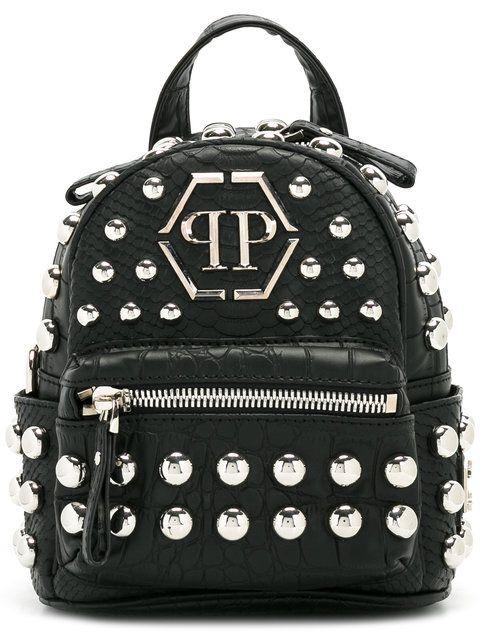 PHILIPP PLEIN Mini Zaino Borchie Backpack. #philippplein #bags #leather #backpacks #