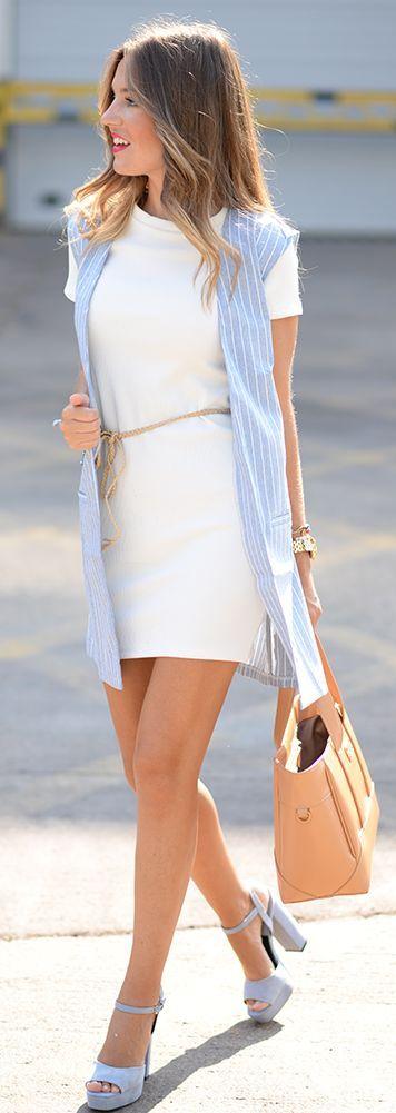 Striped Denim Vest Outfit Inspo by Mi Aventura Con La Moda