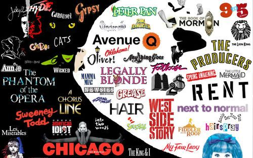 Jekyll & Hyde, Cats, Gypsy, Beauty & the Beast, Grease, Wicked, Annie, The Phantom of the Opera, A Chorus Line, Sweeney Todd, American Idiot, Les Miserables, Chicago, Mamma Mia, Oliver, Avenue Q, Legally Blonde, Hair, Seussical, West Side Story, Hairspray, RENT, The Producers, Spring Awakening, The Book of Mormon, My Fair Lady, Next to Normal, Carousel, Into the Woods, The King & I, Fiddler on the Roof, Oklahoma, Cinderella, The Sound of Music, Newsies, Annie Get Your Gun, The Little Mermaid