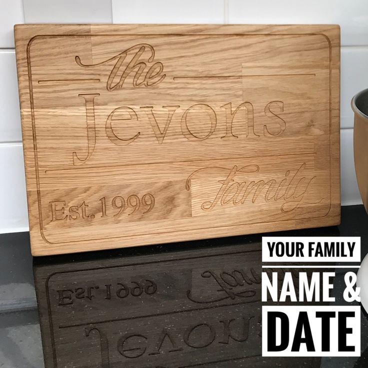 Solid oak chopping board, personalised, wedding gift