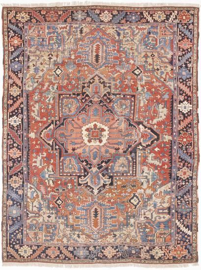 """Antique Hand-Knotted Persian Karaja Rug (8'4""""x 11') Treniq Rugs. View thousands of luxury interior products on www.treniq.com"""