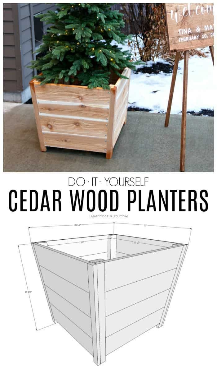 Diy Exterior Cedar Planters Jaime Costiglio Cedar Wood Projects Wood Planters Diy Exterior