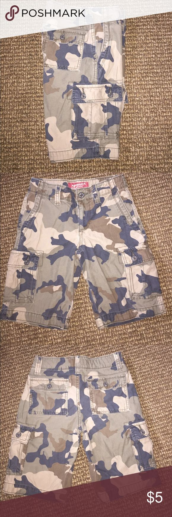 Little boys camouflage shorts Gently used adjustable waist button home and zipper fly. 4 pockets total and No stains or holes. Size 8 regular fit Arizona Jean Company Bottoms Shorts