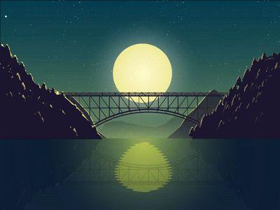 Mid night, GIF, animation, moon, train, water, dark, light, painting, illustration