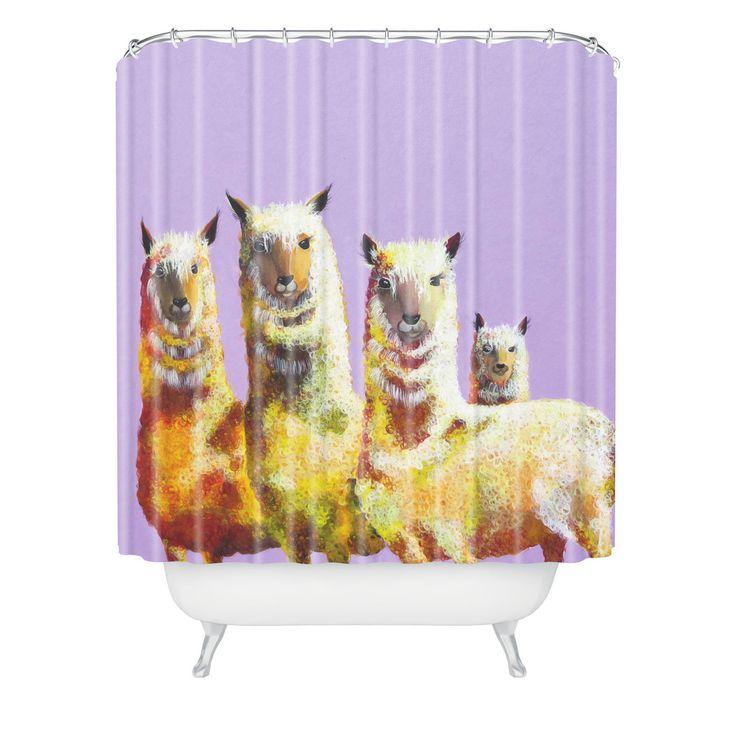 Clara Nilles Lemon Llamas On Lavender Shower Curtain | DENY Designs Home Accessories