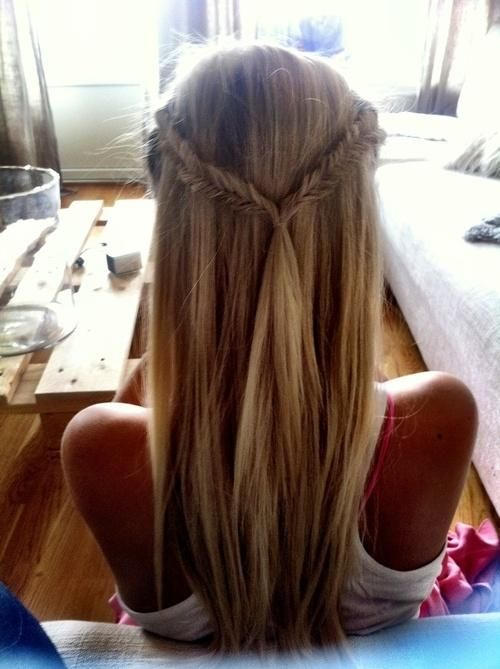 Two fishtail braids in a half-up half-down style.
