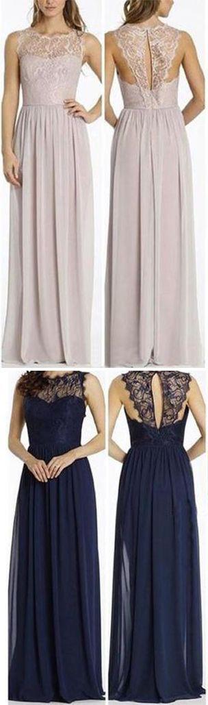 Round Neckline Illusion Lace Top Chiffon A-line Popular Open Back Bridesmaid Dresses,#bridesmaiddressesuk,#chiffon,#soop,#elegant,#promdressesuk,#longdress