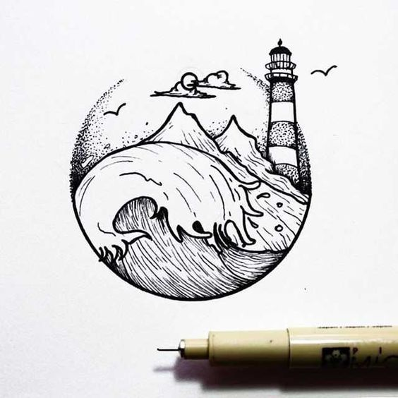 draw things cool drawing drawings creative unique nature sketches heart wave tattoo sketch lighthouse designs tattoos easy osman mansaray line