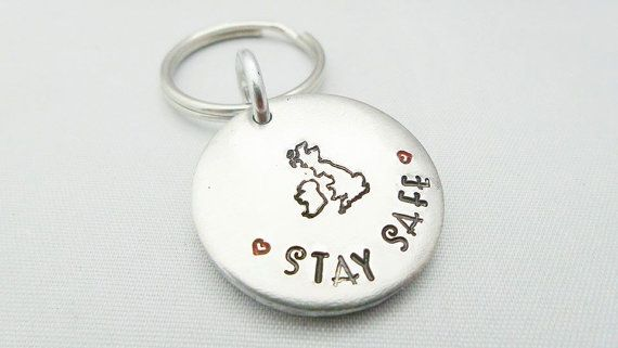 stay safe Hand stamped keyring by HWLD on Etsy
