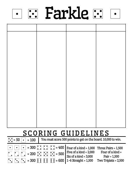 Free Printable Farkle Score Sheet (Math \u003d Love) Yard games Games