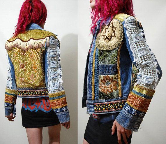 70s Vintage Bohemian DENIM JACKET Patchwork Velvet Studs Fringe Embroidery Tapestry Coat Hippie Gypsy 1970s vtg Handmade OOAK xs s