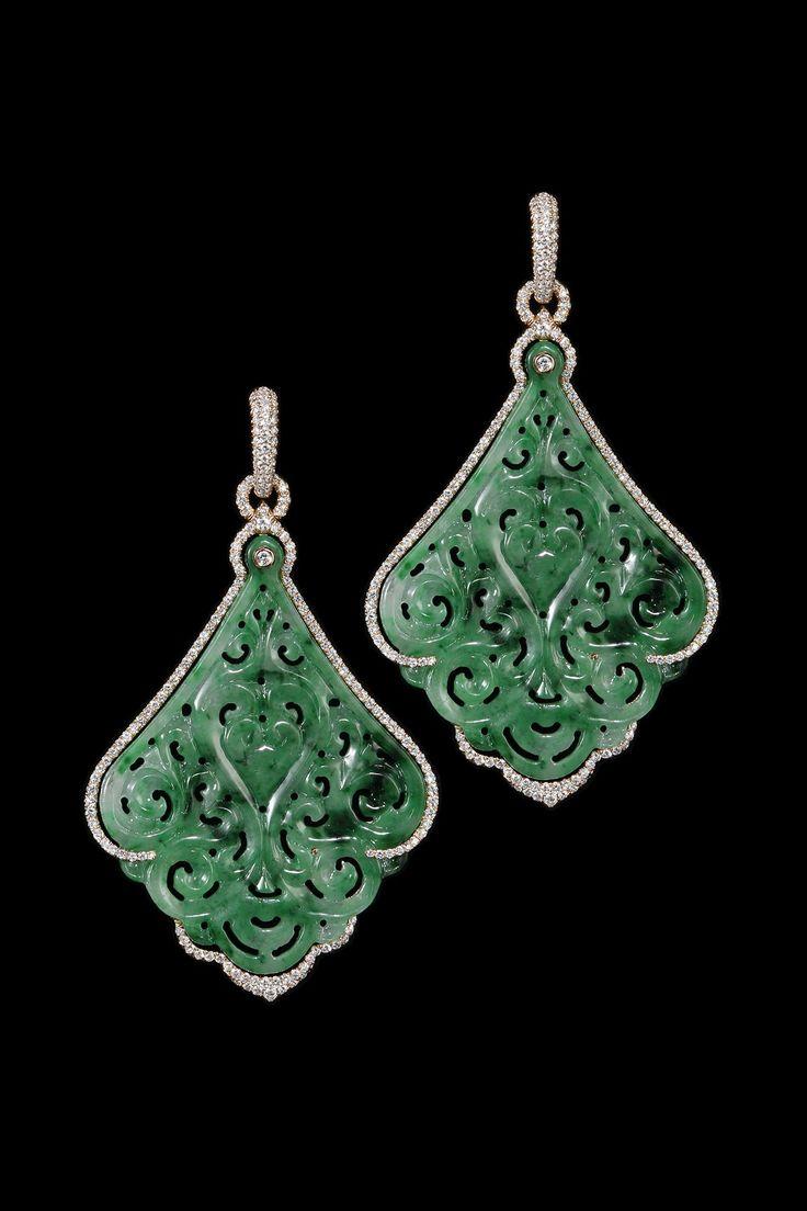 Diamond and jade earrings.                                                                                                                                                                                 More