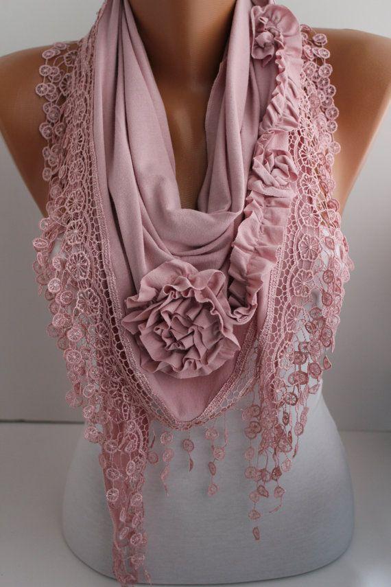 New- Soft Pink Jersey Rose Shawl/ Scarf - Headband -Cowl with Lace trim- DIDUCI on Wanelo