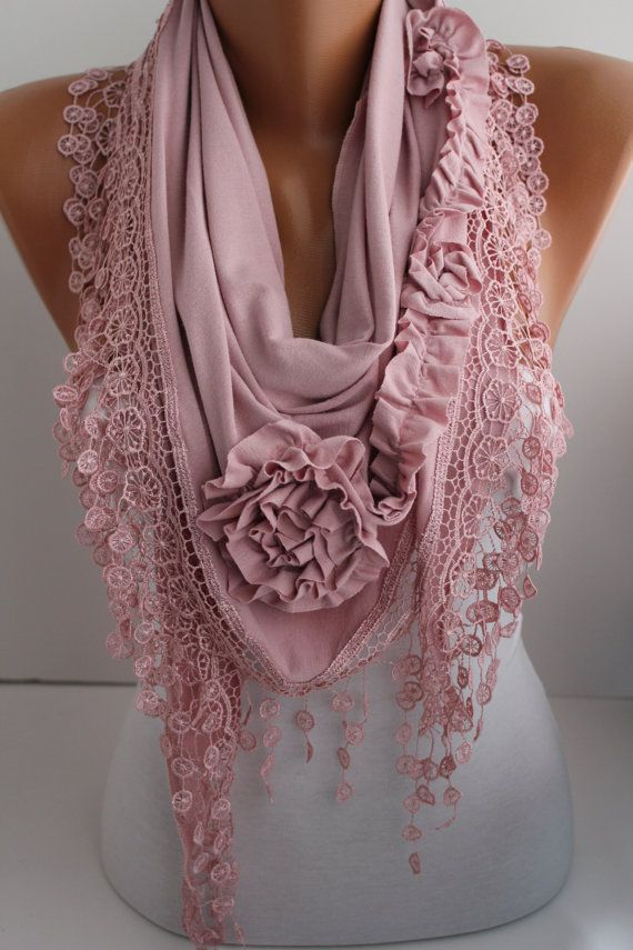 New- Soft Pink Jersey Rose Shawl/ Scarf - Headband -Cowl with Lace trim- DIDUCI on Wanelo
