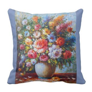 Vintage Floral Bright Country Flowers Painting Throw Pillow