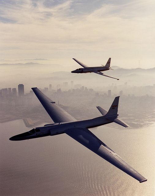 NASA Lockheed U-2 (ER-2) and Lockheed U-2C over San Francisco - With an ability to fly at altitudes in excess of 70,000 feet, these aircraft are used by NASA for high-altitude civilian research including Earth resources, celestial observations, atmospheric chemistry and dynamics, and oceanic processes. (Image: NASA)