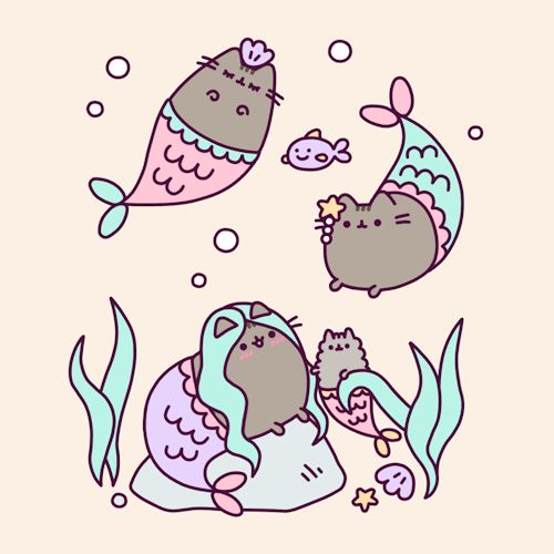 Pusheen the cat mermaid gif