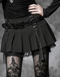 Mini jupe gothique PUNK RAVE agrémentée de pièces et d'une ceinture en simili cuir