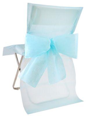 Stolsöverdrag Ljusblå med rosett 10p #engångsöverdrag #stolsöverdrag #celebrations.se