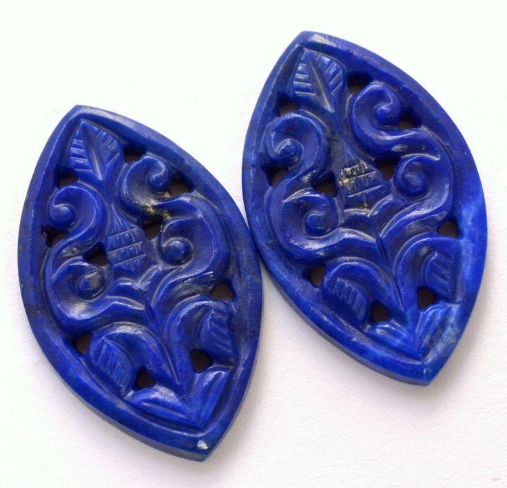 28.89 Cts Natural Lapis Lazuli Handmade Carving Pair 30x20 mm Loose Gemstones #sbigems