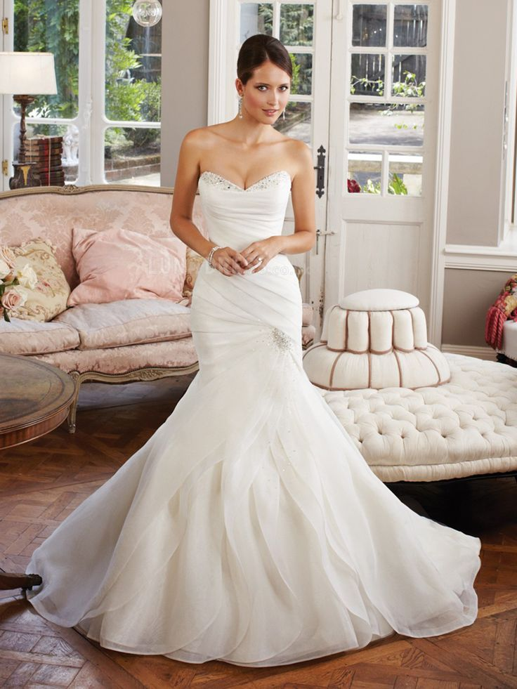 Charming+Trumpet-Mermaid+Sweetheart+Organza+Ivory+Wedding+Dress+with+Draped+and+Crystal+LWLT14034