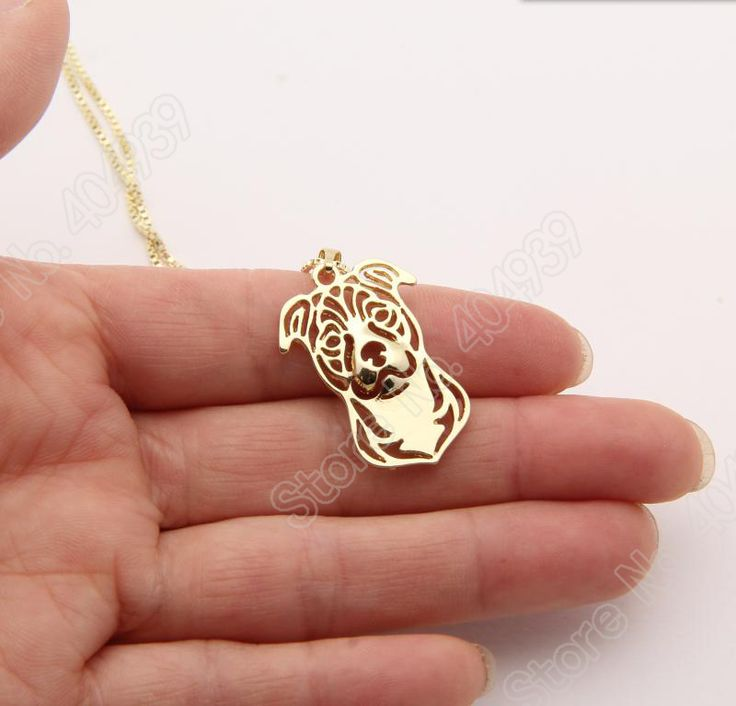 Staffordshire Bull Terrier Dog Necklace Paw Print Necklace Memorial Tag Necklaces Pendants Gold Plated Choker Women Lead Free Price: USD 3.99 | United States