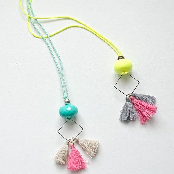 Fluo Boho Hippie Necklace   Acrylic Beads   Tassels   Metallic Detail