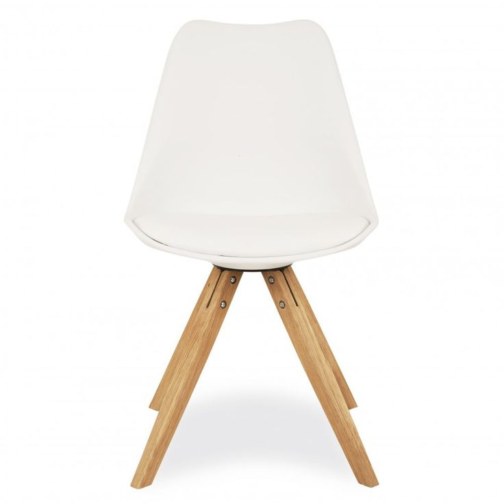 Charles Eames Style White Dining Chair With Pyramid Style Solid Oak Wood Legs