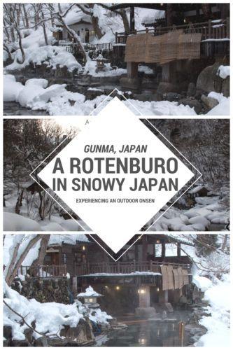 Rotenburo in Minakami, Gunma, Japan: experiencing an outdoor onsen in the snow.
